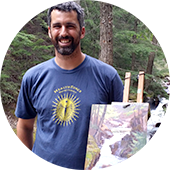 plein air artist Jeff Troupe painting