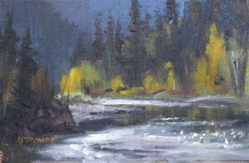 Montana plein air painter painting fall on the middle fork