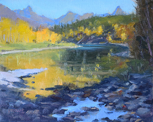 Montana plein air painter painting Middle Fork Gold