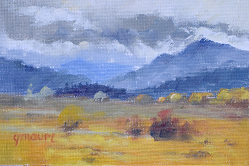 Montana plein air painter painting the grays of fall