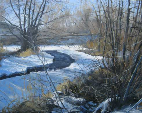 Montana plein air painter painting The Snowy Banks