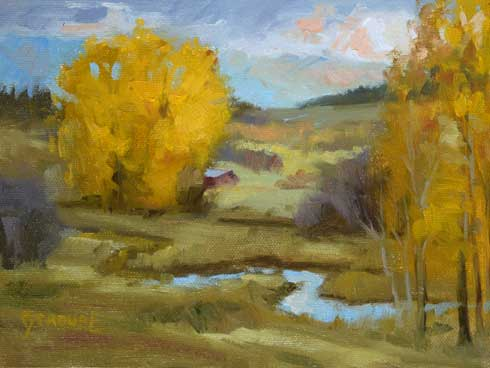 Montana plein air painter painting winding through the color